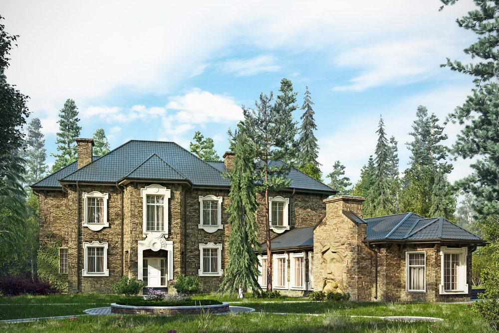 Дом в английском стиле. Вид на главный вход