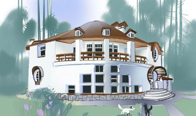 """Проект дома """"Круги"""". Эскиз фасада"""