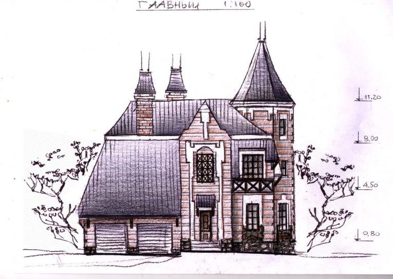 Проект готического коттеджа. Эскиз фасада